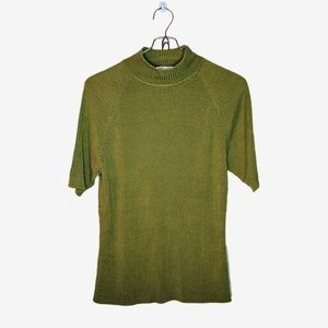 Lord & Taylor | Vintage Green Silk Turtle Neck Tee